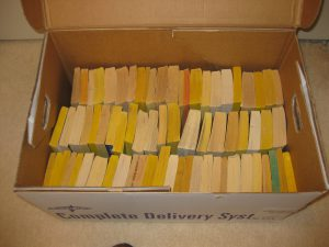 We received 1,000 books in the first shipment from Michael's.  They came in bulk boxes containing 180 to 200 books.  My son brought these heavy duty storage boxes from where he works.  The stout cardboard with hand holds made it much easier to handle the books.