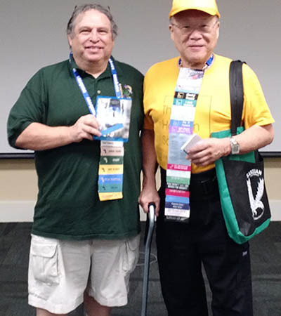 "Sasquan's Tri-Cities International Film Festival coordinated Nat Saenz (left) and THS President Keith Kato (right) before the showing of the ""Predestination"" movie."