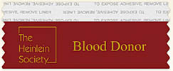 Heinlein Society Blood Donor Ribbon