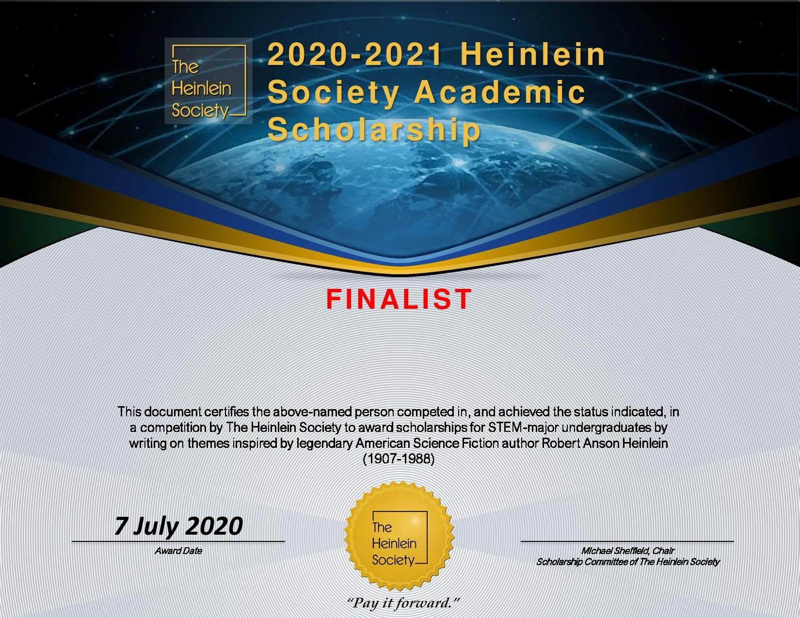 Heinlein Society Scholarships Certificate
